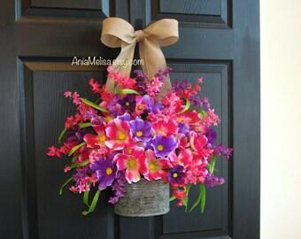 spring wreath front door wreaths summer wreath outdoor wreath pink purple cosmos decorations Mother's Day gift wreaths