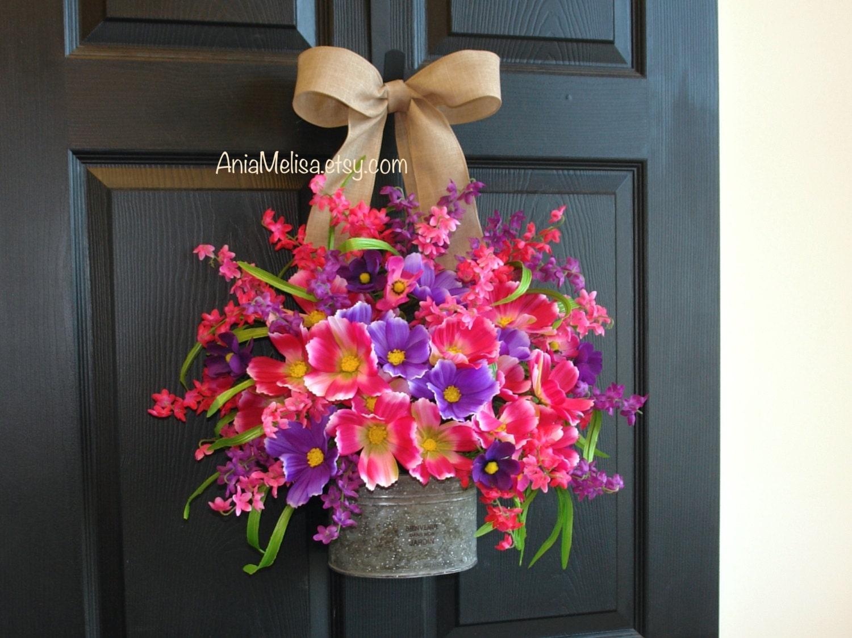 spring wreath front door wreaths summer wreath outdoor wreath. Black Bedroom Furniture Sets. Home Design Ideas