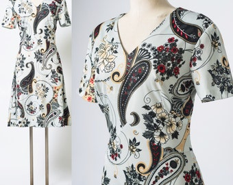 Black Paisley Dress, 60s Dress, Mad Men Dress, Vintage Grey Dress, Grey Black Dress, Floral Dress - S/M