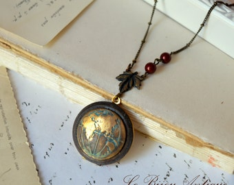 World Map Locket necklace Globe antique bronze vintage oxidized bordeaux swarovski pearls Western hemisphere or Eastern gift for her