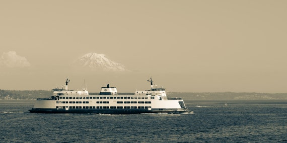 "Seattle Ferry to Vashon Island with Mount Rainier. Puget Sound. Emerald City. Pacific Northwest. Travel Photography. 10""x20"" Fine Art Print."