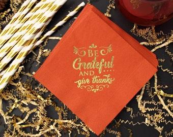 Thanksgiving Napkins, Thanksgiving Dinner, Grateful Napkins, Table Decor, Autumn Holiday Paper Napkins, Holiday Napkins, Fall Decoration