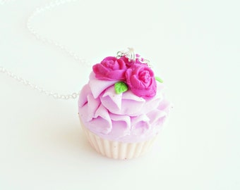 Romantic Roses Cupcake Necklace, Cupcake Charm, Cupcake Necklace, Cupcake Jewelry, Food Charms, Miniature Food Jewelry