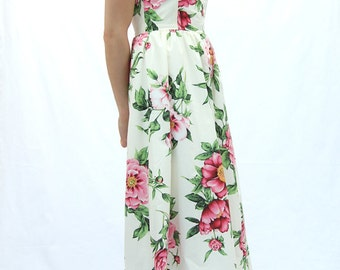Strapless midi white dress, floral midi dress, below knee strapless dress, bustier dress,