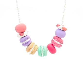 Handmade Polymer Clay Jewelry Necklace: Macaron Madness in Party