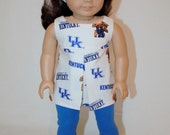 """American Girl 18"""" Doll Clothes and Accessories - University of Kentucky tunic, headband and blue leggings"""
