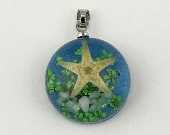 1 starfish resin and silver tone pendant,22mm #PEN 012