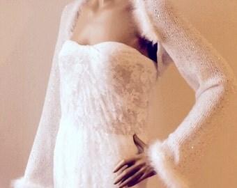 White Shrug, Bolero, Bridal Shrug, Sequin Bolero, Wedding Bolero with Faux Fur Trims, Wedding Shrug, Bridal Bolero,