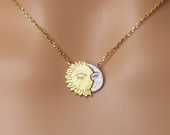 Sun and Moon necklace,Dainty Necklace,Gift ideas,crescent moon necklace, sun necklace