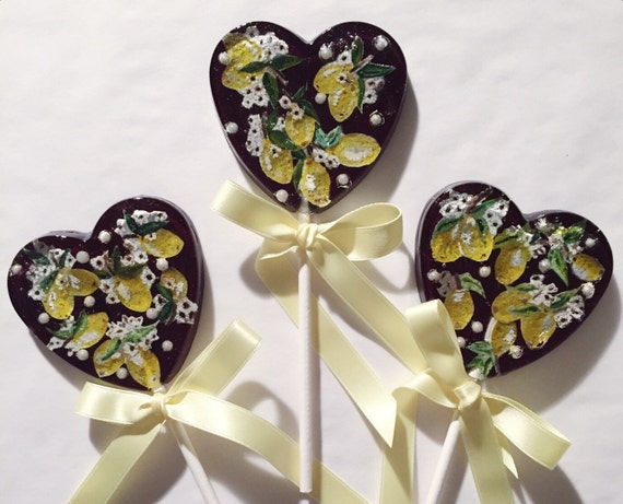 3 Painted Lemons Natural Lemon Lollipops