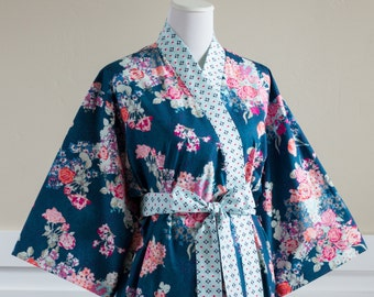 Kimono Robe. Womens Robe. Dressing Gown. XS - Plus size. Knee length. Yukata. Hospital Gown. Bathrobe. Floral Cotton SK Navy Blue Aqua Pink