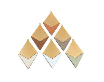 Rhombus FORMICA Pendant, 1 Pc Gold Plated Brass, Wood Pendant, Geometric Jewelry, Colorful Pendant, Jewelry Making Supplies, GoldieSupplies
