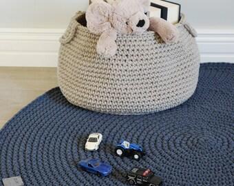 Crocheted round denim blue rug fi 100cm 40''  crochet rug   blue rug   scandinavian rug   dark blue rug   round rug   round carpet blue rug