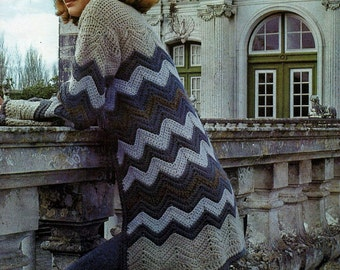 Crochet Chevron Cardigan Vintage Crochet Pattern Instant Download