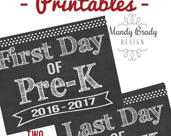 First Day of Pre-K Printable Signs | Last Day of Pre-K Printable Sign | Back to School 2016 | Instant Download | Chalkboard Pre K