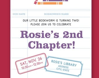 Girls Library Themed Birthday Invitation - Printable