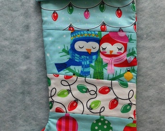 Modern children's Christmas quilted stocking, handmade lined blue and aqua Xmas stocking  CIJ