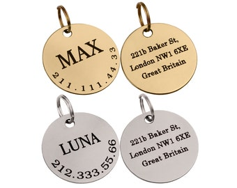 Personalized Dog ID Tag Custom Engraved Brass Stainless Steel