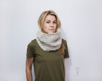 Chunky  Knit Cowl - Women's Neckwarmer Scarf - Crochet Scarf - The SPUTNIK Snug Neckwarmer in Wheat Color