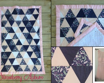 TRIANGLE Bridesmaid Dress Baby Quilt Baby Shower Gift for the Expecting Bride - Baby Girl - Quilt made from a bridesmaid dress