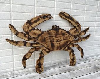 Crab Wall Art, Wooden Crab Wood Burning art, Beach House Decor, Patio Sign Outdoor, Housewarming gift idea