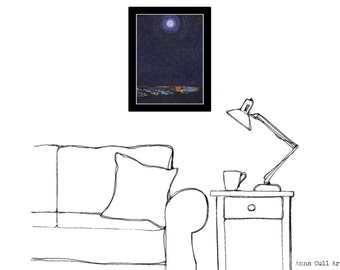 Full moon painting, wall art, 'Moon Over the City' home decor, dark purple decor, moonlight, 16 x 12 canvas to frame, free shipping