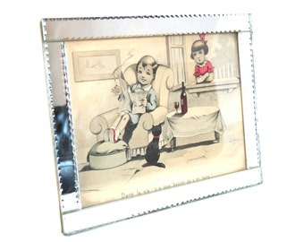 ART - DECO mirror picture frame . Bevelled mirror. Children's  engraving  Gilbert DAUPHIN.Germaine Bouret.
