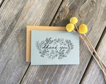 Hand Drawn Vintage Inspired Flower Thank You Cards, Wedding Thank You Cards, Rustic Thank You Cards