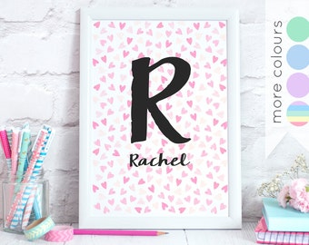 Personalised Heart Pattern Print - Custom Name & Initial - Wall Art Water Colour Confetti