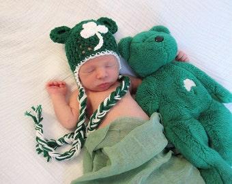 Green Shamrock Bear Hat, St. Patrick's Day Hat, Green Crochet Hat