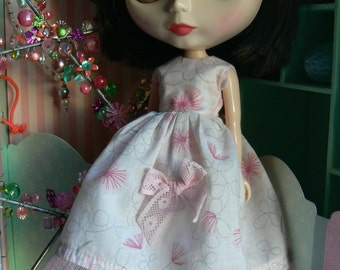Pink blythe dress blythe with petticoat head band with flowers and socks with bow Blythe clothes handmade in Paris France