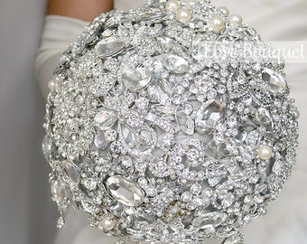 SALE! Jewelry Wedding Brooch Bouquet, Crystal Wedding Bouquet, Luxury Wedding Bouquet, Bridal Bouquet, Rhinestone Bouquet, Silver Bouquet
