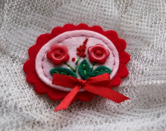 Cameo flower felt pin - RED - Flower brooch - 100% wool felt cameo with flower button and embroidery , gift for girls , thecraftdesk