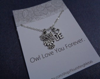 Owl necklace / Owl Jewelry / Owl Love You Forever/ Valentines Gift / Mothers Day Gift / Gift for Her
