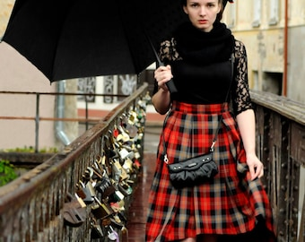 Pleated handmade hi-lo tartan skirt