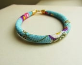 Red and Purple Plums on Skyblue Japanese Kimono Cord Bracelet // Turkish Matte Gold End Caps