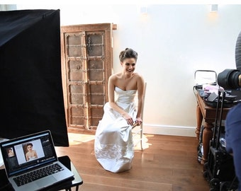 Wedding Dress SAMPLE SALE -- Blush Coloured Wedding Gown in Duchess Silk Satin