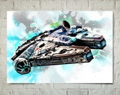 Star Wars fan Art illustration of the Millennium Falcon, Art Print, Poster size prints available, Geekery Art, Dorm Decor, Watercolor art