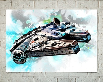 Star Wars Art - Han Solo Millennium Falcon - Star Wars Poster, Art Print, fan art illustration, Star Wars Gift, Star Wars Watercolor art