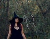 Witch hat wizard magic hat- Black wool Felt tall pointed hat