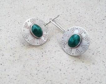 Eilat stone earrings ,Eilat jewelry , Ethnic earrings , national stone of Israel , sterling silver earrings , handmade , Israeli Art