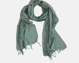 White Polka Dots printed Scarf, Mint Green scarf,  Green scarf, Cotton scarf, tassels scarf, Gift scarf, scarf on sale