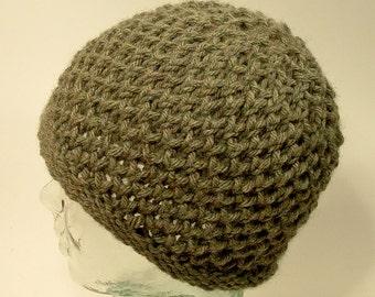 Knit Hat Beanie Slouch Mens Womens Warm Green Wool Blend Texture