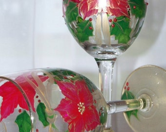 Poinsettia holiday wine glasses Set of two