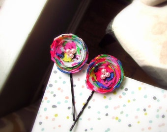 2 Small Rainbow Hot Pink Cute Hair Pins, Bobby Pins, 80s Floral Hair Clip Women Tiny, Neon Pink and Black Hairpins for Her, Mini Barrette