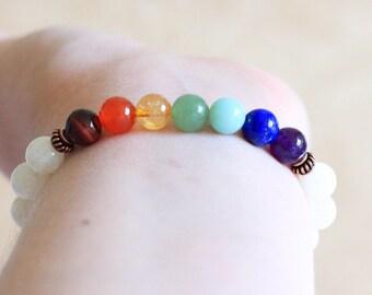 Chakra Bracelet, Moonstone Mala Beads, Womens Mens Mala Bracelet, Healing Beads, Yoga Jewelry, Spiritual Jewelry