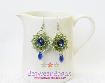 Beaded Dangle Earrings, Royal Blue and Green, Crystal Earrings, Drop Earrings,  Blue Flower Earrings, Sapphire Earrings,