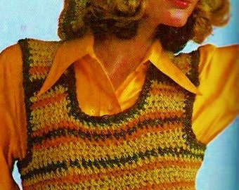 Tank Top and Slouchy Beret Vintage Crochet Pattern Download