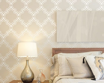 Moroccan Double wall stencil large pattern, Royal Moroccan Wall Stencil for DIY project - Wallpaper look - Easy home decor