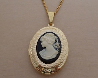 "Black Oval Shaped Vintage Cameo Locket, Pendant on a 18"" Long Gold Plated Chain"